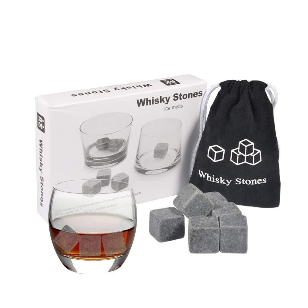 Paquet de 9pcs Whiskey Stones Whisky Chilling Stone Gla/çons Boissons Vin Beer Cooler Barware Cubes Coffret Cadeau