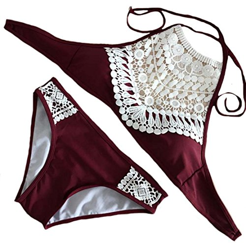 Zago Women's Lace Splice Halter Triangle 2pcs Bikini Set Wine red Medium