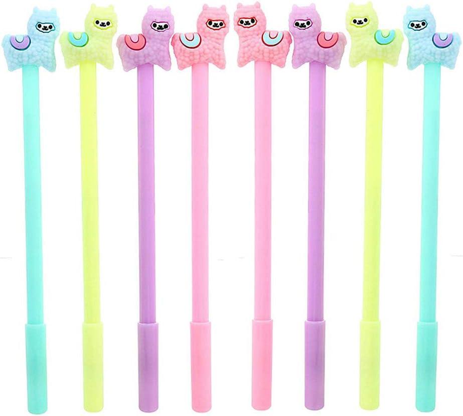 NYKKOLA Cute Cartoon Sheep Alpaca Llama Gel Ink Pen, Novelty Animal Writing Pens, 0.38mm Ball Point Rollerball Pens for School Office Writing Supplies Stationery Gift, Black Neutral Ink - 8PCS