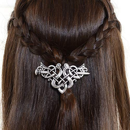 Viking Celtic Hair Sticks Hairpin-Viking Hair Clip Men Antique Silver Hair Sticks Hairpin Triangle Clips for Long Hair Stick Slide Irish Hair Accessories Celtic Knot Hair Pin Viking Jewelry Women ()