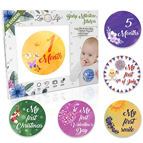(Premium Baby Monthly Stickers - 36 Pack | 14 Baby Age Stickers + 9 Baby Milestone Stickers + 13 Baby Holiday Stickers | Size Adjusted to Baby's Growth Cycle | Perfect Baby Shower Gift | Gender Neutral )