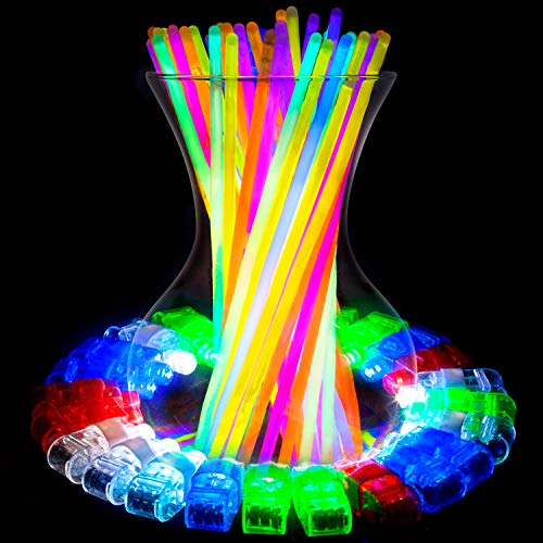Glow Sticks and LED Finger Lights – 140pk Bulk Glow in The Dark Party Favors, Rave Accessories, Neon Glow in The Dark Party Supplies for Adults Kids