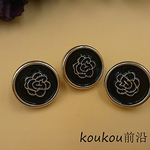 Black plastic buttons carved roses mini cufflinks pants jacket sweater knit shirt buttons 12mm for Sewing Crafts Handmade Clothes DIY