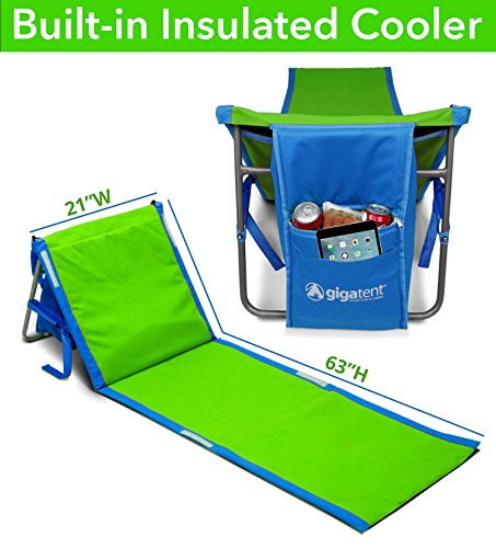 GigaTent Portable Beach Lounge Chair Mat with Insulated Cooler and Storage Pocket - Lightweight
