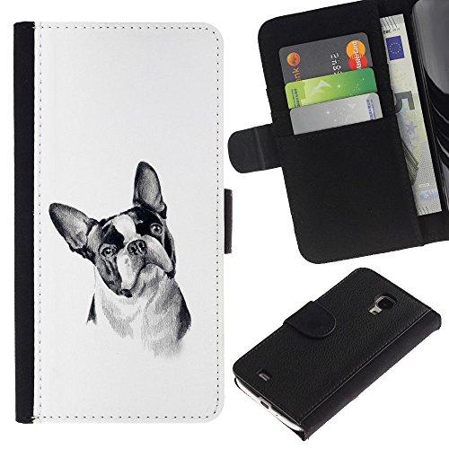 EuroCase - Samsung Galaxy S4 Mini i9190 MINI VERSION! - boston terrier black white art dog - Cuero PU Delgado caso cubierta Shell Armor Funda Case Cover