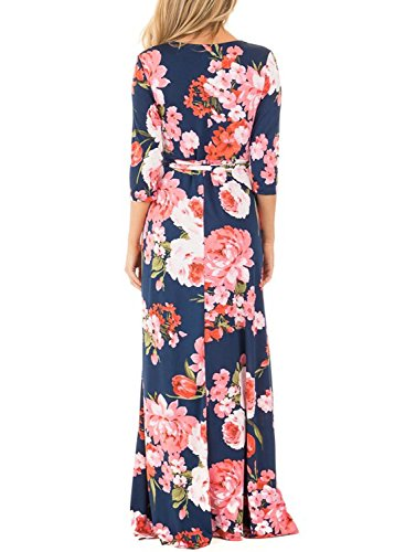 Dokotoo Womens Ladies Cotton Casual 3 4 Sleeve Beach Fit And Flare Flower Floral Print Maxi Long Dresses Navy X-Large