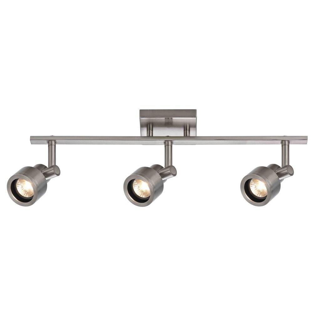Track Light with 3 Stepped Cylinder Spot Lights - Satin Nickel - GU10 Base