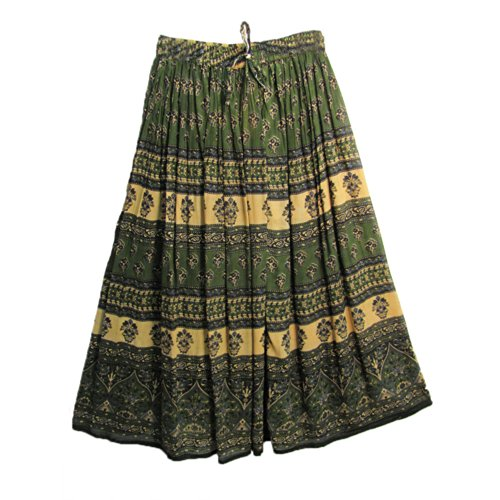 Indian Rajsthani Green Buti Bohemian Broomstick Long Gypsy Skirt