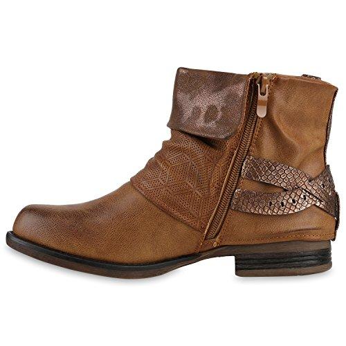 Mujer claro motero botas estilo marrón Stiefelparadies wqFfx7St7