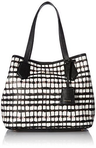 Cole Haan Abbot Small Tote, Black/White Plaid Snake Emboss