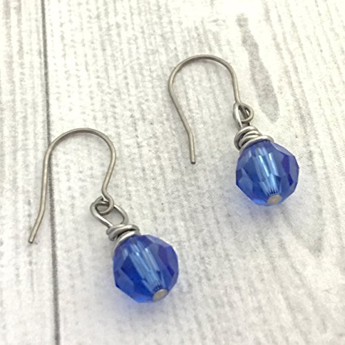Wire Wrapped Earrings, Sapphire Round Swarovski Crystal Element, Titanium (Round French Wire Earrings)