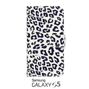 OnlineBestDigital - Leopard Pattern Painting PU Leather Wallet Case for Samsung Galaxy S5 - White