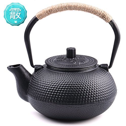 TOWA Workshop Japanese Tetsubin Tea Kettle Cast Iron Teapot with Stainless Steel Infuser Black 22 oz (Iron Cast Teapot Tetsubin)