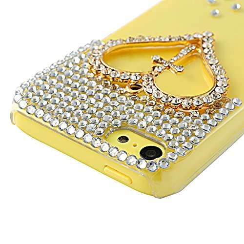 Mavis's Diary Luxury 3D Handmade Crystal Heart Rhinestone Bling Clear Case Cover for Iphone 5C with Soft Clean Cloth (Heart and Love)
