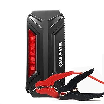 Booster Batterie 800A Peak 18000mAh Démarrage de Voiture Portable , car jump stater MOERUN Jump Starter Voiture avec Pinces Alligator intelligents Booster de Démarrage Rechargeable et chargeur avec LED Flashlight pour Voitures à Essenc