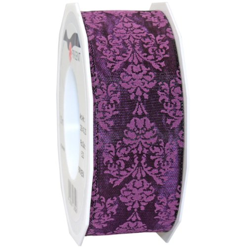 Morex Ribbon Baroque Floral Printed Taffeta Ribbon, 1-1/2 by 22-Inch Yard Spool, Purple