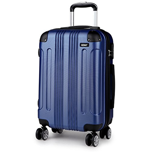 Kono Hard Shell Luggage Lightweight ABS 4 Wheels Spinner Business Trip Trolley Case Suitcase (24-inch)