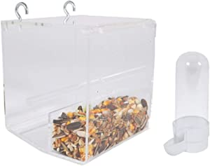 SOBAKEN Kinekulle No Mess Bird Feeder for Cage with Hooks Small Comes with One Small Water/Feeder Dispenser
