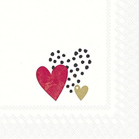 Happy hearts Ivory Caspari Lunch Paper Napkins 20 in pack 3 ply 33 cm square