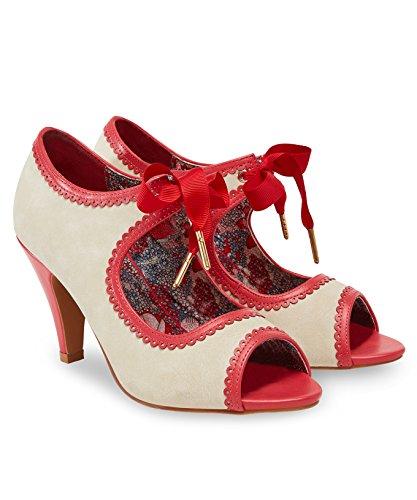 de crema y Browns con Toe con de estilo Joe Peep vintage rojo Zapatos estilo cordones Joe medio tacón cinta 0wp0v