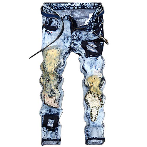 Clearence Men's Pants KpopBaby Vintage Folds Wash Frayed Patchwork Zipper Basic Pants Skinny Jeans Denim
