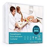 ARCESS Lightweight Hypoallergenic Down Alternative Comforter, Twin Size Bed Duvet Insert for Bedroom, Hotel, Machine Washable, Corner Duvet Tabs, White