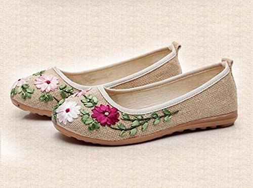 MISSMAO Women Beijing Style Embroidery Ventilate Pumps Comfy Flat Shoes Loafers Beige L5gW09Nq