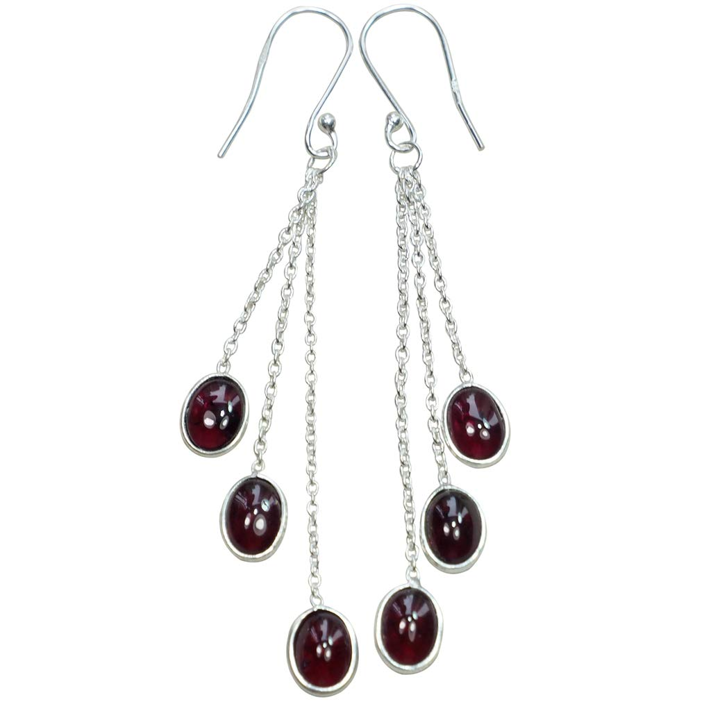 22ct Garnet and 925 Sterling Silver Dangle Earrings, Nature Crystal Women's Jewelry Gift 2.8'' E1546