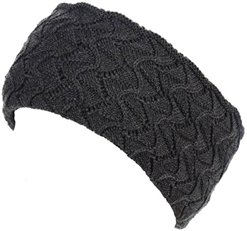 BYOS Womens Winter Enhanced Warm Fleece Lined Crochet Knit Headband Stretchy Fit by Be Your Own Style
