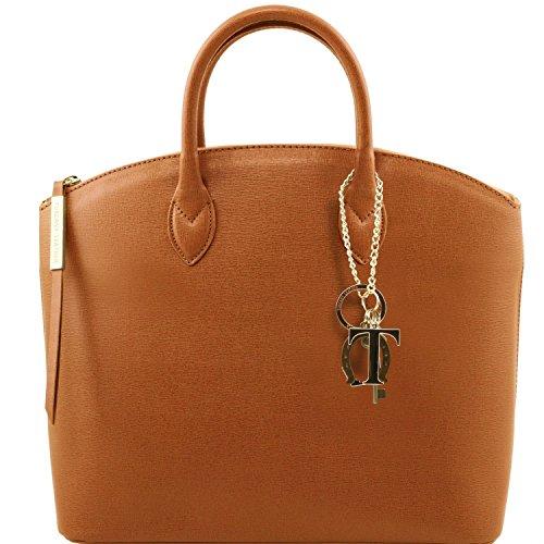 Leather KeyLuck Cognac TL141261 Blue foncé en Saffiano cabas Sac Tuscany TL cuir qEPCEd