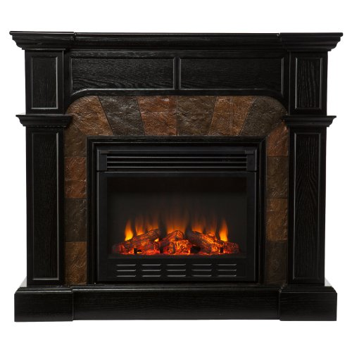 Southern Enterprises Cartwright Ebony Convertible Faux Slate Electric Fireplace