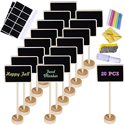 Supla 20 Pcs Mini Chalkboard Tabletop Signs with Stand Place Holders Party Wedding Message Memo Note Board Buffet Table Number Name Plant Signs Candy Bar Food Dessert Markers Table Setting Signs from Supla