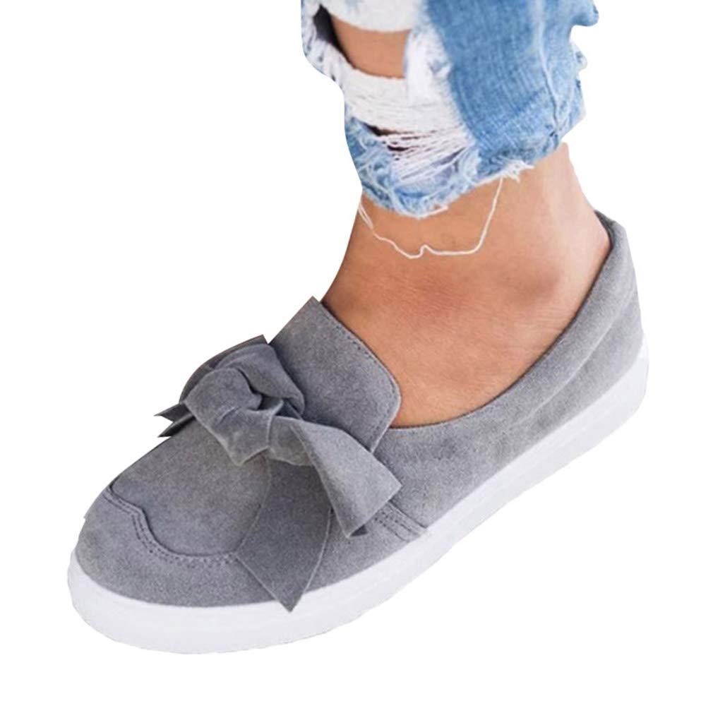 Junkai Mocassini in Pelle Scamosciata da Donna - Mocassino Comodo da Donna, Scarpe da Lavoro e da Indossare quotidianamente Grigio