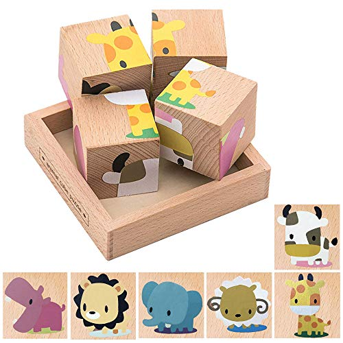 (Educational Preschool Wooden Cube Block Jigsaw Travel Puzzle Toy for Age 3 4 5 Year Old and Up)