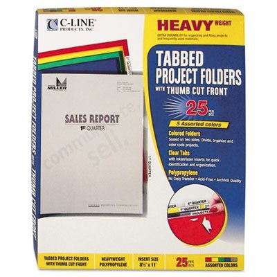 - C-Line Products - C-Line - Project Folders, Jacket, Letter, Poly, Assorted Colors, 25/Box - Sold As 1 Box - Tear-resistant, static-free folders divide, organize and color-code work projects. - Open on two sides with thumb cut for easy access. - No photocopy transfer.