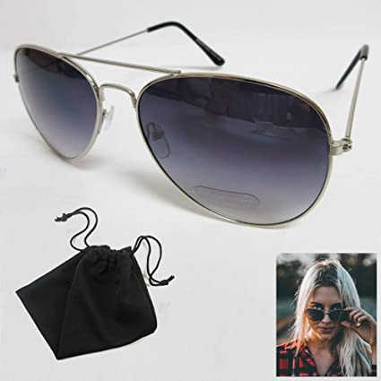 d1832a8693 Amazon.com   Aviator Sunglasses Retro Vintage Black Lens Police Pilot Metal  Frame Shades New   Office Products
