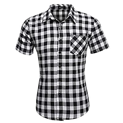 Gotchicon Men's Casual Short Sleeve Turndown Neck Plaid Shirt