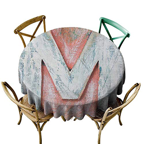 Wendell Joshua 100% Polyester Round Tablecloth 48 inch Letter M,Old Wood Capital Letter M Natural Worn Out Look Texture Language Image, Coral White Cream Suitable for Indoor Outdoor Round Tables ()