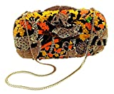 "''Jungle Fever-Sunset'' Wild Animal Clutch/Evening Purse, Inlaid Jewel Studded, 10"" chain, Hard Case."