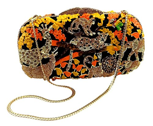 """''Jungle Fever-Sunset'' Wild Animal Clutch/Evening Purse, Inlaid Jewel Studded, 10"""" chain, Hard Case. by Bordeaux"""
