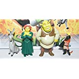 Shrek Mini Toy Figure Playset with Shrek, Fiona, Puss in Boots, Donkey and special bonus figure!