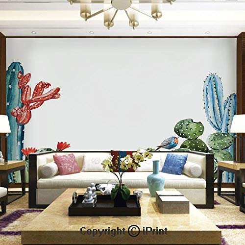 - Lionpapa_mural Removable Wall Mural | Self-Adhesive Large Wallpaper,Cactus Spikes Flowers with Birds Cartoon Vintage Like Colored Artwork,Home Decor - 100x144 inches