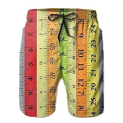 ETRBSF Yellow Red Grey Number Measuring Tape Designer Beach Short Shorts Cute Outdoor Sport Man