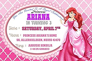 WoW Party Studio Personalized Disney Princess Theme Birthday Invitation Cards With Boy Girl Name