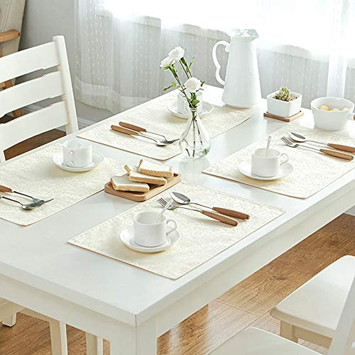 Lifu Oil-Proof Waterproof Anti-Skid Spill-Proof Place Mats Stain and Heat Resistant Table Mats Woven Washable Placemats Non-Slip Placemat for Dining Table (Beige, 4-pieces|18 x 12ines(45 x 30cm))