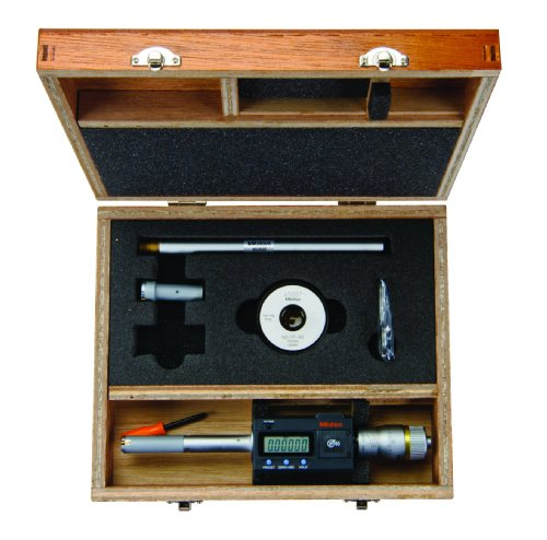 Mitutoyo 468-977 Digimatic Holtest LCD Inside Micrometer, Interchangeable Head Set, 0.5-0.8