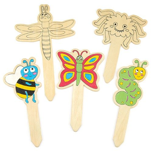 Bug Wooden Garden Stakes for Children To Design Creative Decorations (Pack of 10)