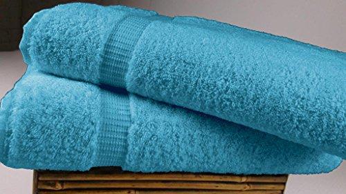 SALBAKOS Luxury Hotel & Spa Turkish Cotton 2-Piece Eco-Friendly Bath Sheet Set 35 x 70 Inch, Aqua (Bath Best Sheets Price)