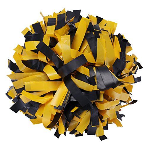 ICObuty Plastic Cheerleading Pom pom 6 inch 1 Pair(Yellow-Black)