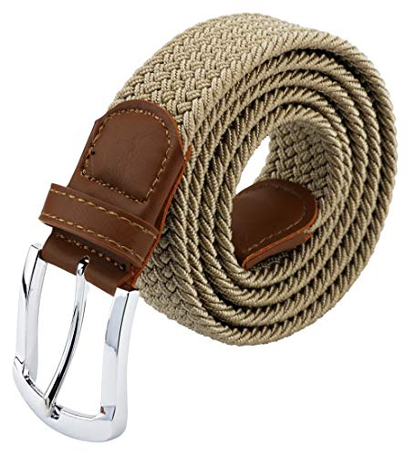 Maikun Mens Belt, Canvas Elastic Belt, Mens Belts Leather Tip